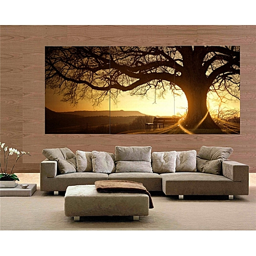 30x40cm Frameless 3 Panel Modern Printed Tree Painting Picture Cuadros Sunset Canvas Painting Home Decor