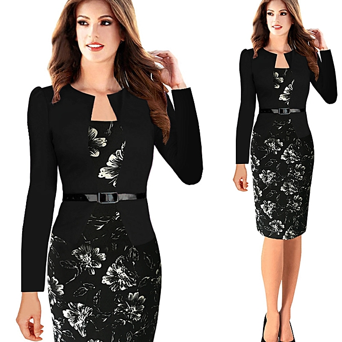 ec93c6457cd Women Office Dress Plus Size Faux Jacket One-Piece Bodycon Vestidos  Patchwork Elegant Summer Wear