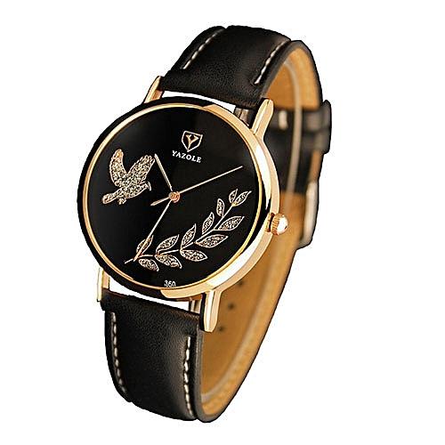 Women's Leather Strap Watch - Black