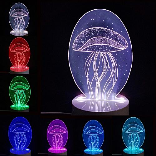 DSU 3D Night Light Jellyfish Shining Table Desk Lamp