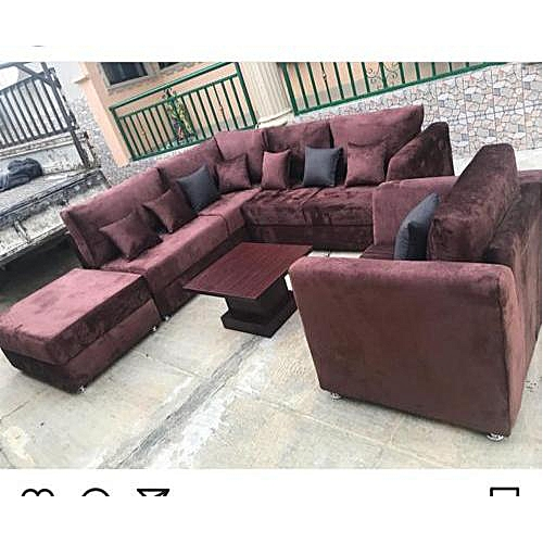 L-shaped + Single . Wine Red.Order Now And Get OTTOMAN Free (DELIVERY ONLY IN LAGOS)