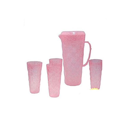 4 Cups Set With Jug - Pink
