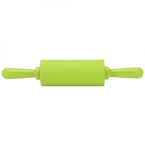New Non-stick Silicone Rolling Pin Pastry Dough Roller Baking Tool With Plastic Handle Green