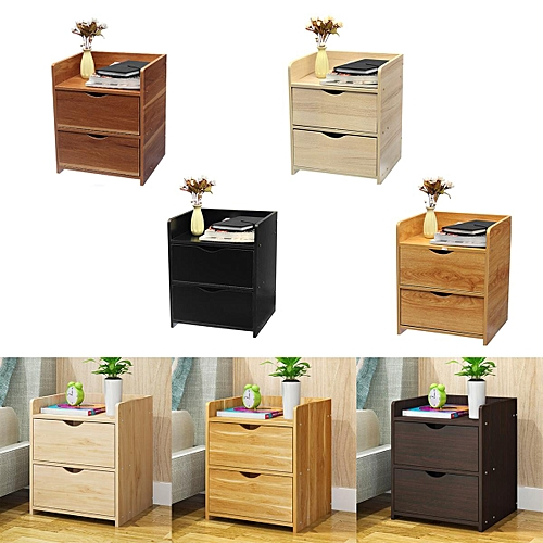 Bedside Table Night Stand Bedroom Organizer Cabinet W/Drawer Storage Beige Yellow White Brown