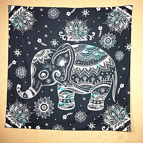 Nxioasd Shop Elephant Print Square Decorative Tapestry Beach Throw Roundie Towel Yoga Mat BK