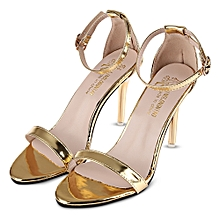 0ccc7f31a Sexy Solid Color Shiny Ladies Thin High Heel Sandals-GOLDEN (UK Size)