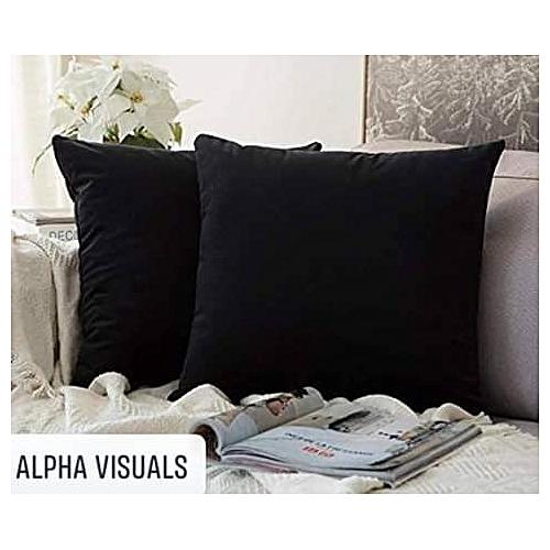 Lit Plain Black Throw Pillow Set (2 Pieces)