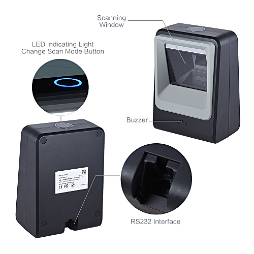 Wired Automatic Desktop 1D Barcode 2D QR Code Image Scanner Reader Scanning Platform Hands-free For Mobile Payment Supermarket Library Express Company Retail Store Warehouse