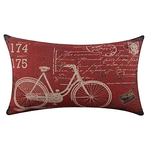 Houseworkhu Bicycle Linen Square Throw Flax Pillow Case Decorative Cushion Pillow Cover -Red