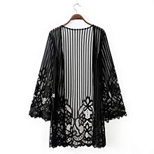dfde6feffef5 A-dongjiax Fashion Women Lace Shawl Solid Perspective Sunscreen Cardigan  Cover Up Beachwear