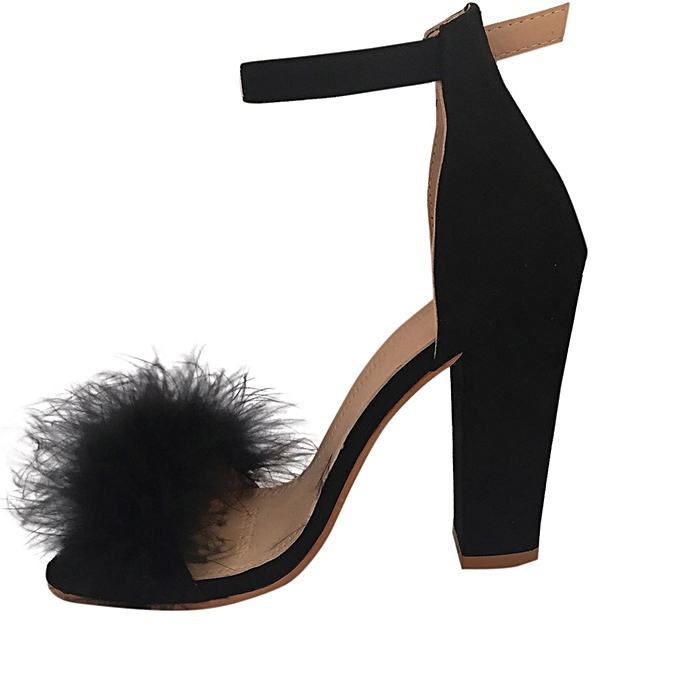 109d247e25a557 Bliccol High Heel Shoes Womens Ladies Block High Heel Sandals Ankle Tie Up  Fur Strappy Platforms