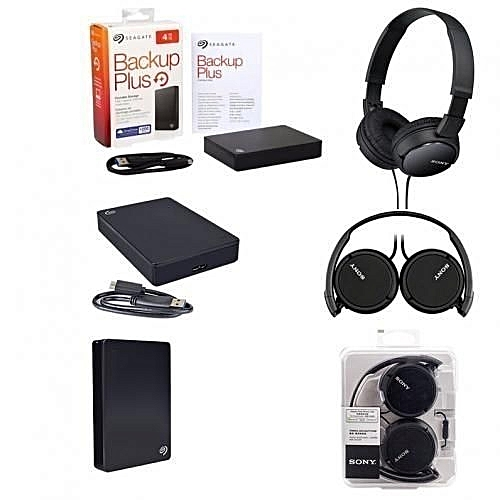 Backup Plus Slim 4TB Portable Hard Drive + Sony Stereo Bass Headphone - Bundle