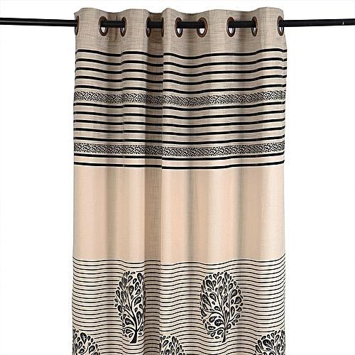 Velvet Bordered Eyelet Curtain - Cream/Black