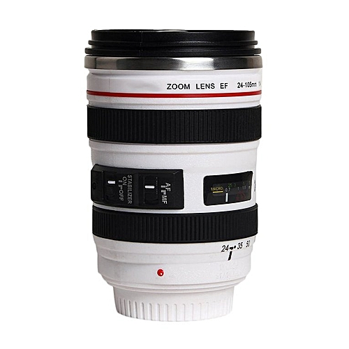 Vacuum Flasks Travel Coffee Mug Cup Water Tea Camera Lens Cup With Lid Gift White