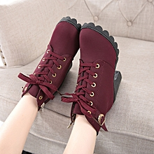 07d038aadfa Hiamok Womens Fashion High Heel Lace Up Ankle Boots Ladies Buckle Platform  Shoes RD 35