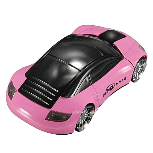 2.4GHz Wireless USB Optical Car Mouse Mice Cordless For PC Laptop (Pink/Black)