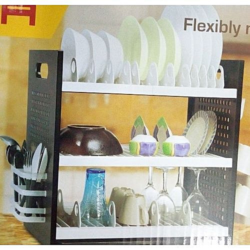 New Rustless 3 Tier Plastic Dish Drainer And Plate Rack
