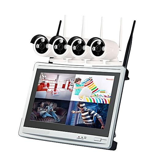 4 Channel 960P Wireless NVR Kit 12.5 Inch LCD WiFi NVR 4 X 1.3MP WiFi IP Camera EU Plug - White