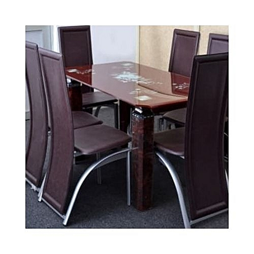 Generic Exquisite Dining Set With 6 Dining Chairs- Brown