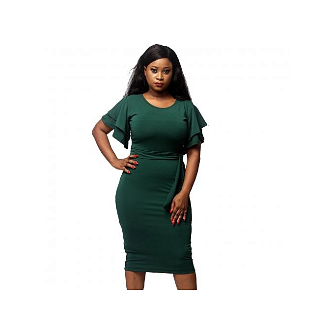 Virtue Clothier Double Butterfly Sleeve Dress - Green