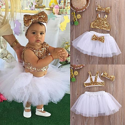 Princess Baby Girl Sequins Tops Tutu Skirts 3pcs Outfits Party Dress 0 4Y