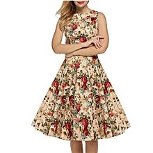 f3471ef0343 JIUWomen Dress Retro Dresses Sleeveless O Neck Floral Print Casual Dresses  Robe Apricot Flower