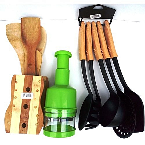 Kitchen Wooden Spoons + Non Stick Spoon Set Brown + Free Onion Chopper