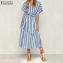 bf2866545046 ZANZEA Women Casual V Neck Button Up Sundress Striped Long Midi Shirt Dress