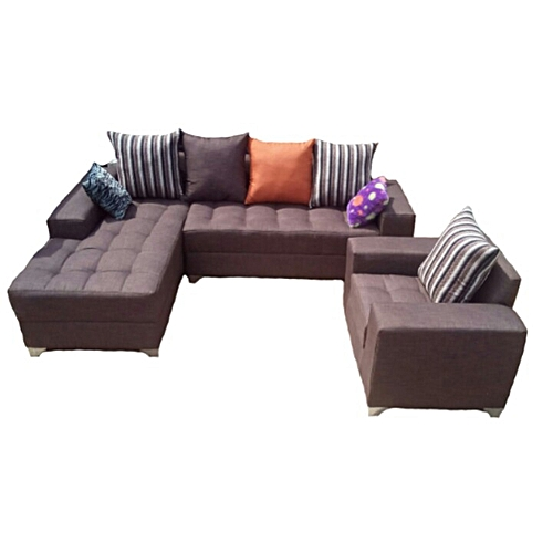 L-shaped Sofa Couch And A Single Seater. Free Throw Pillows