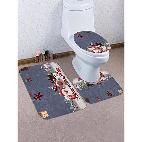 Christmas Snowman Gift Pattern 3 Pcs Bathroom Toilet Mat - Multi
