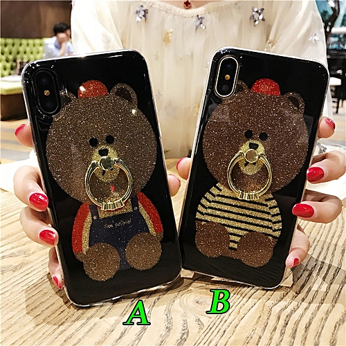 low priced 08e73 82fab Teddy Bear Ring Stand Holder Phone Case For IPhone 6 6s Plus 7 8 Plus  IPhone X