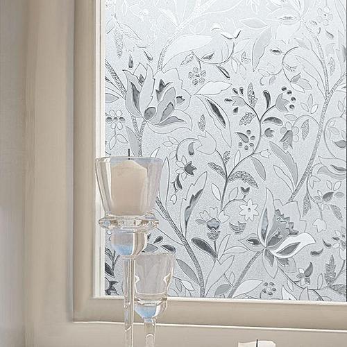 KCASA Z021 45cmX200cm Modern Flower Pattern Glass Stickers Bathroom Balcony Sliding Door Frosted Glass 3D Stickers