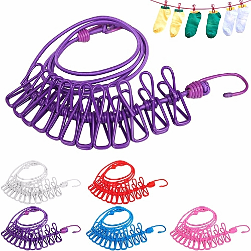 ( Colour:blue)Hotselling 180cm Portable Multifunctional Drying Rack Clips Cloth Hangers Steel Clothes Line Pegs Travel Clothespins