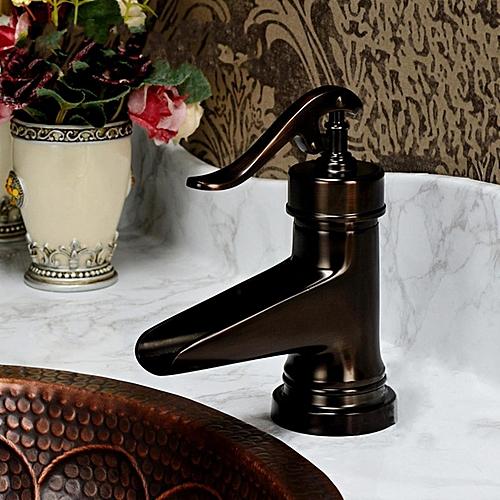 Oil Rubbed Bronze Waterfall Bathroom Basin Faucet Single Handle Hole Mixer Tap Black