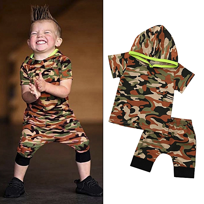 43c49e5840c34 ... 2pcs Toddler Delicate Boys Clothes Set Camouflage Hoodie Tops+Shorts  Outfits ...