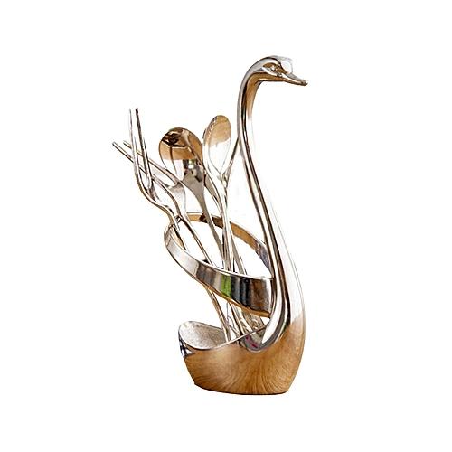 Creative Swan Metal Dinnerware Fruits Spoon Forks Set -Silver