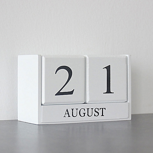 Creative Home Wooden Decoration Ornament Perpetual Calendar White