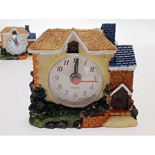 Desk Alarm Clock Village House Bedroom Clock Home Decor