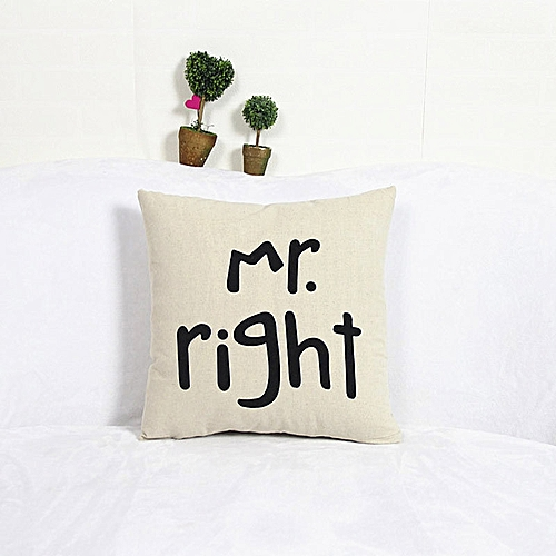 Fashion Home Decor Cotton Linen Mr Pillow Case Sofa Waist Throw Cushion Cover WH