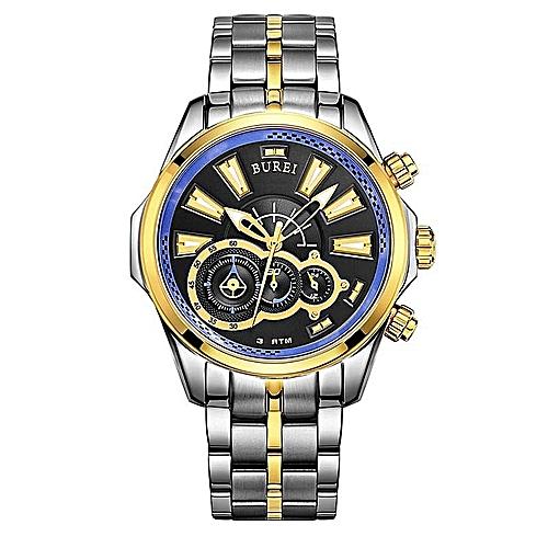 BUREI Men's Watch Sports Watch Treasure Shuttle Belt Waterproof Stainless Steel Watch Quartz Men's Watch (SilverGold) By HonTai