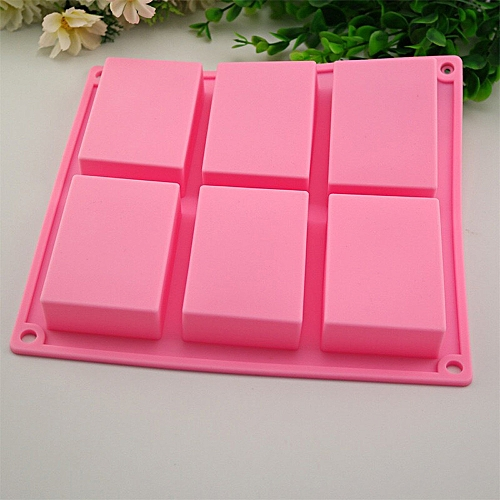 6 Cavity Plain Basic Rectangle Silicone Mould For Homemade Craft Soap Mold