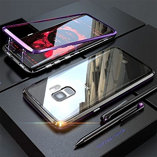 sale retailer 23d71 7b088 Luxury Magnetic Adsorption Metal Case For Samsung Galaxy S9 Transparent  Glass Cover Magnets Frame Armor For Samsung S9 Case 665777 + Tempered Glass