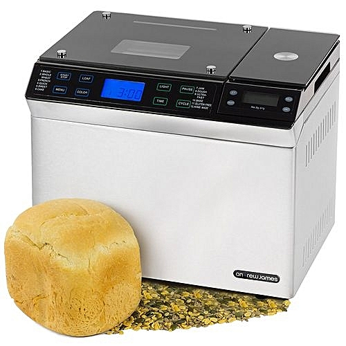 Andrew James Stainless Steel Digital Bread Maker With Integrated Scales (AJ000573) + 12 Pre-Set Functions & Automatic Ingredients Nut And Raisin Dispenser