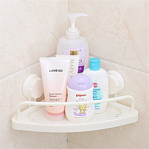 Bathroom Corner Shelf With Suction Rack Organizer Cup Storage Shower Wall Basket