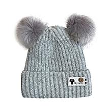 d022c8cd171 Hiaojbk Store Cute Baby Boys Girls Cap Cotton Knitted Faux Fur Ball Warm  Children Hats-
