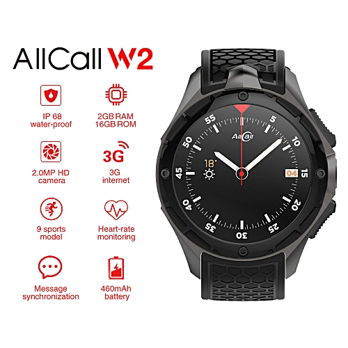 AllCall ALLCALL W2 3G Smartwatch Phone Android 7.0 IP68 Waterproof Smart Watch MTK6580 Quad Core 1.3GHz Heart Rate Monitor Call Message