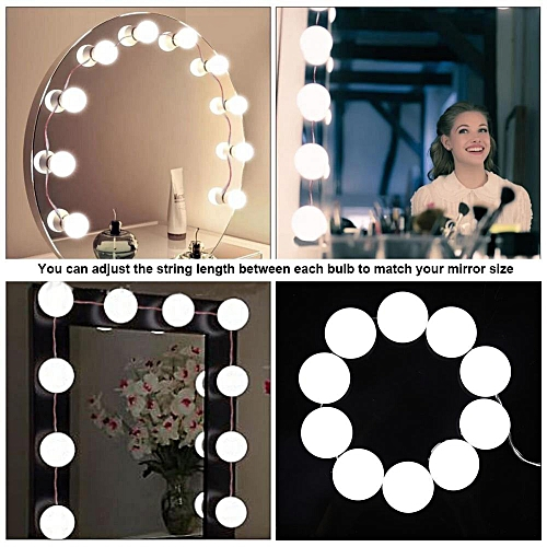 [Free Gift] 10 Bulbs Vanity LED Mirror Light Kit For Makeup Hollywood Mirror With Light 7000K