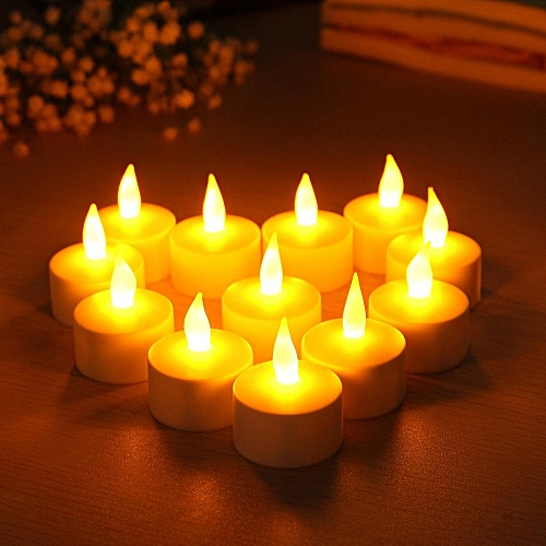 12 LED Rechargeable Flamless Candles Tealight With Flickering Holders Wedding