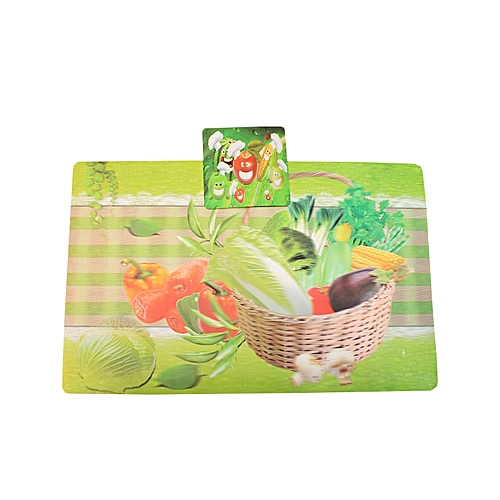 6 Table Mats With 6 Glass Cup Coasters- Green And Multi