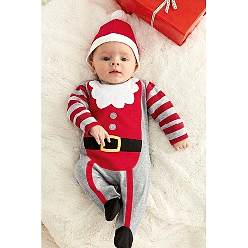 91ecc48aaf502 Fashion Santa Baby Boys Girls Christmas Bodysuit Romper Hat Headband  Outfits Set. By Fashion